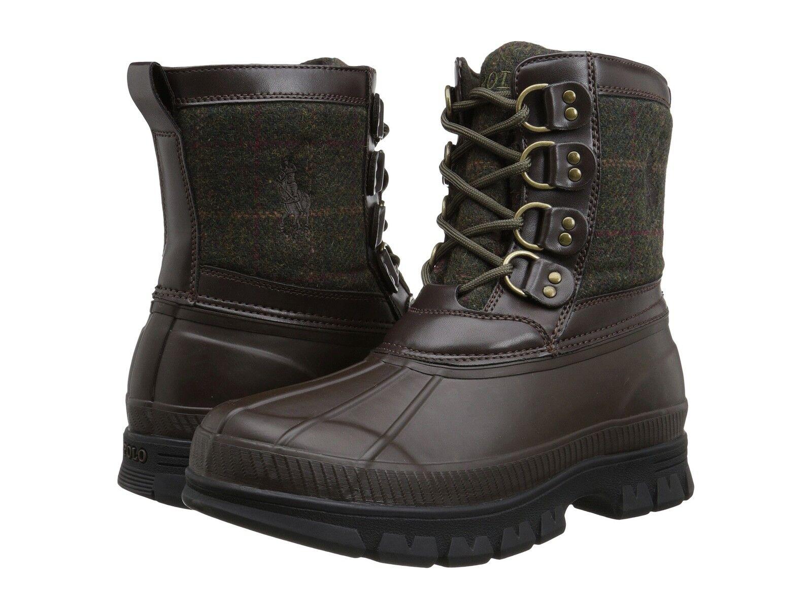 8D Polo Ralph Lauren Men's Crestwick Winter Boots Olive Dark Brown