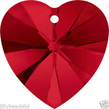 Swarovski 6228 Xilion Heart Pendant Siam Pack of 4