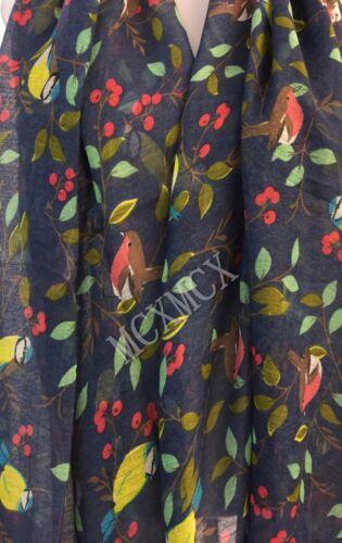 Women Ladies Soft Oriental Birds Pattern Scarf Shawl Scarves Stole UK SELLER