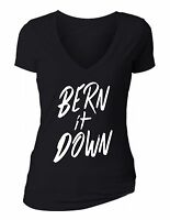 Bernie Sanders - Bern It Down, Hillary Love Trumps Hate Women V-neckt-shirt S-6x