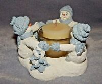Snow Buddies - Circle Of Light - Blue & White Snowman Votive Candle Holder Ring