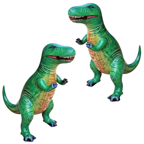 2pcs 37 In (environ 93.98 Cm) Tall Gonflable T-rex Dinosaure Toy Collection Art De La Broderie Traditionnelle Exquise