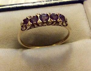 Beautiful-Ladies-Full-Hallmarked-Vintage-9ct-Gold-Five-Stone-Amethyst-Ring-P-1-2
