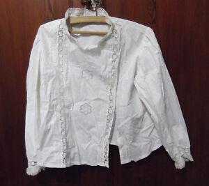 Antigua-camisa-bordada-blusa-de-mujer-o-nina-circa-1900-Hilo-Blanco