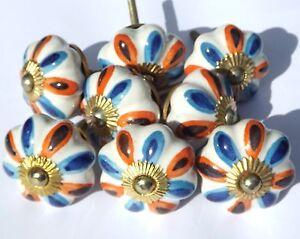 8-x-Fiore-bianco-con-blu-e-arancione-petali-pomelli-in-ceramica-raccordi-ottone