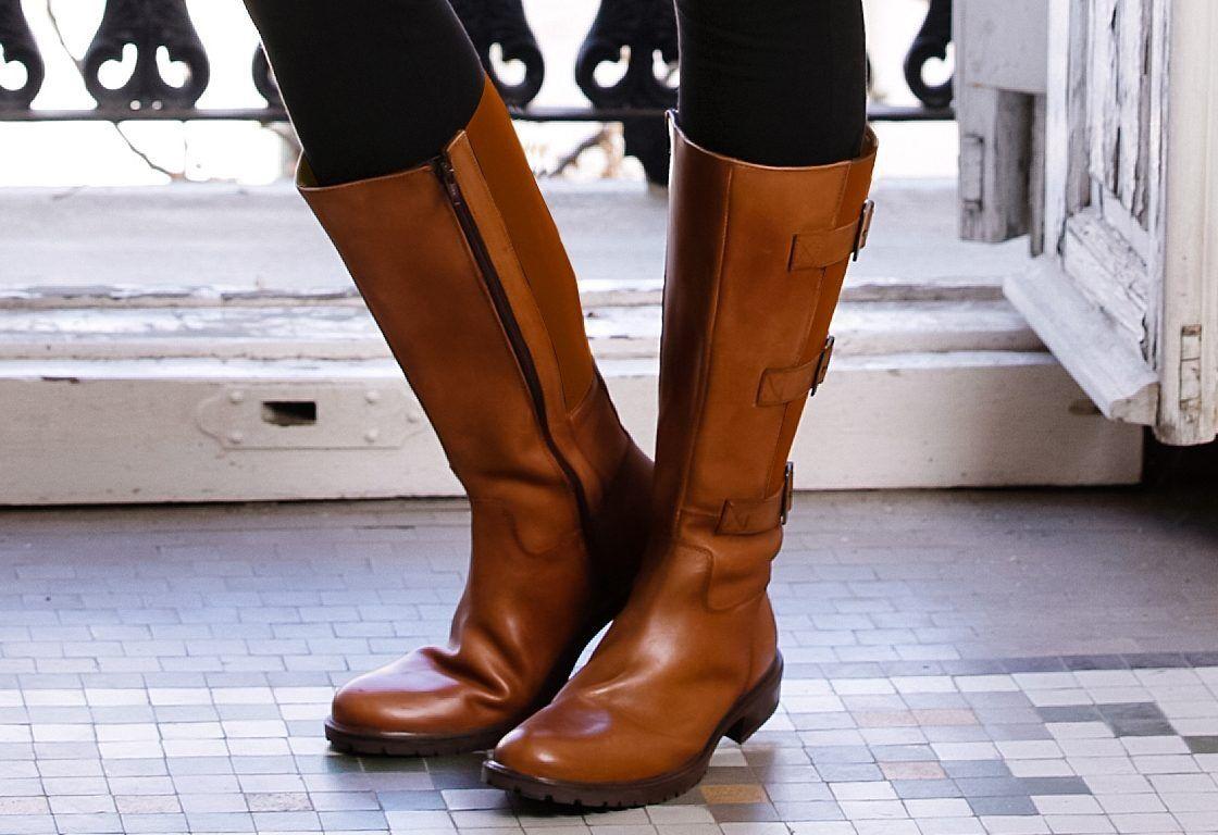 Sheego XL lejos de botas en ancho G, cognac,