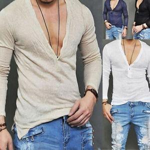New Men's Deep V Neck Summer Long Sleeve T-shirt Basic Tee Shirt ...