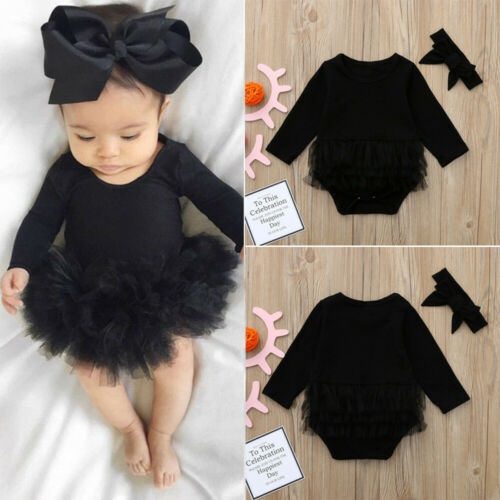 Newborn Baby Girl Solid Tulle Tutu Romper Bodysuit Headband Outfits Clothes Set