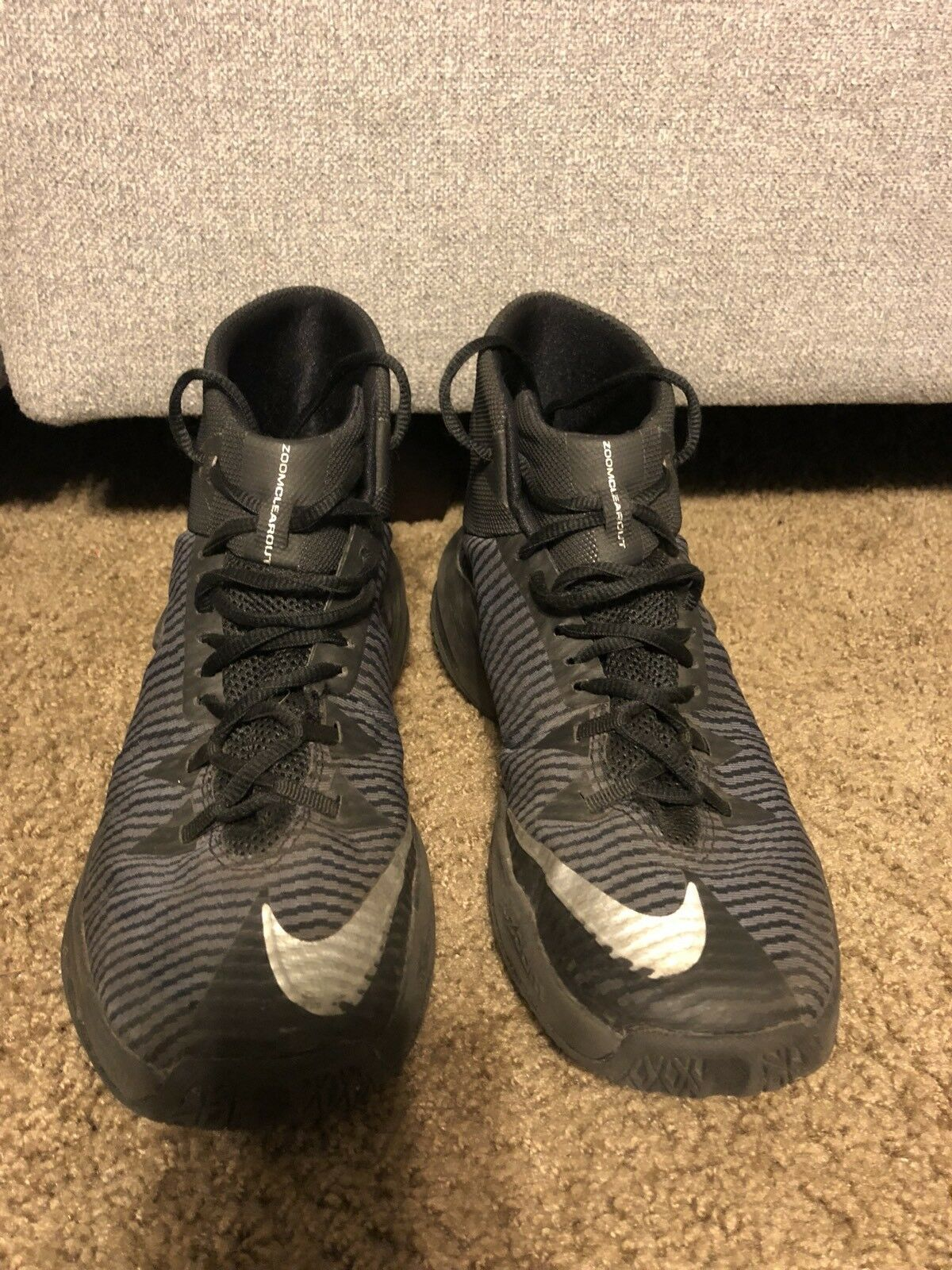 0bf72fbeb96a Nike Men's Zoom Clear Out Black/Silver Basketball Shoes Shoes Shoes  844370-001 Sz