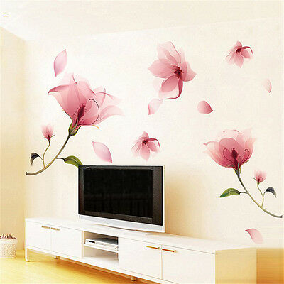 Large Pink Flowers Removable Vinyl Decal Wall Sticker Mural DIY Art Home Decor