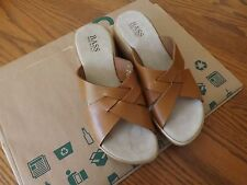 """NWOB Womens Bass Jo Marie Slides Sz 7.5M Made in Italy Leather Upper 2"""" Heel"""