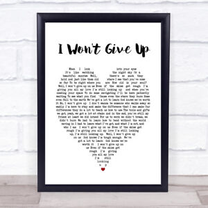 I Wont Give Up Jason Mraz Heart Song Lyric Quote Print Ebay