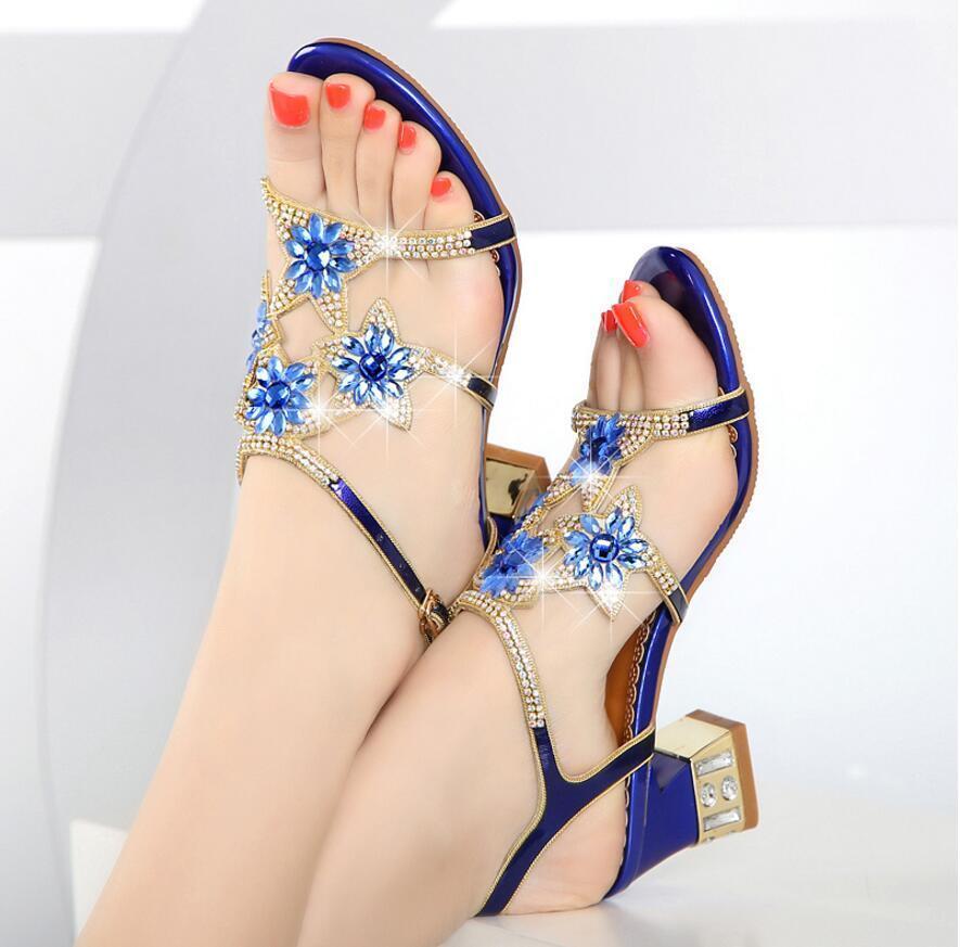 Moda Mujer Zapatos De Tacón Bloque Grueso Grueso Grueso Pedrería Vestido Sandalias Fiesta Zapatos De Novia  marcas de moda