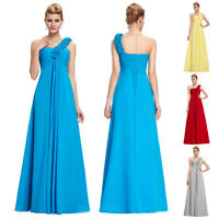 Flower Wedding Bridesmaid Prom Dress Long Formal One-shoulder Evening Gowns Plus