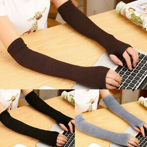 Women-Winter-Arm-Warmers-Cashmere-Fingerless-Long-Gloves-Solid-Warm-gift