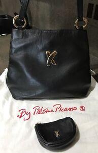 Details about Paloma Picasso Vintage Black Leather Crossbody Shoulder Bag And Purse