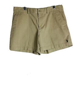 Women-039-s-Ralph-Lauren-Sport-Shorts-Khaki-Beige-Small-Blue-Logo-Size-6-Zipper-Fly