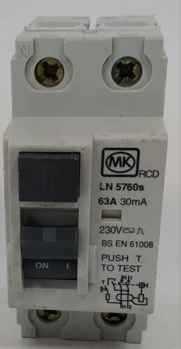 MK Sentry 63 AMP 63 A 30 mA RCD Double Pôle 2P Dp Interrupteur deux Module LN5760s