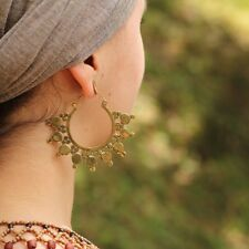 Large Tribal Sunburst Boho Hoop Earrings