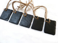 Gift tags, extra small, natural slate, handcut x5, blank DIY name labels