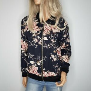 Tua-Pink-Floral-Print-Black-Full-Zipper-Front-Bomber-Jacket-Womens-Size-Small