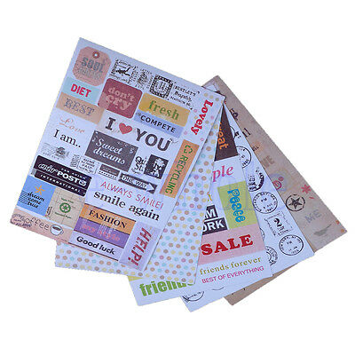 6pcs English Letter Calendar Paper Sticker Scrapbook Diary Planner Decor EW
