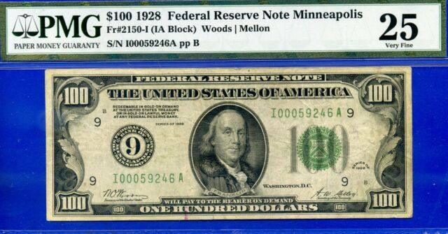 *Ultra Rare 1928 $100 FRN (( Minneapolis )) PMG Very-Fine 25 # I00059246A