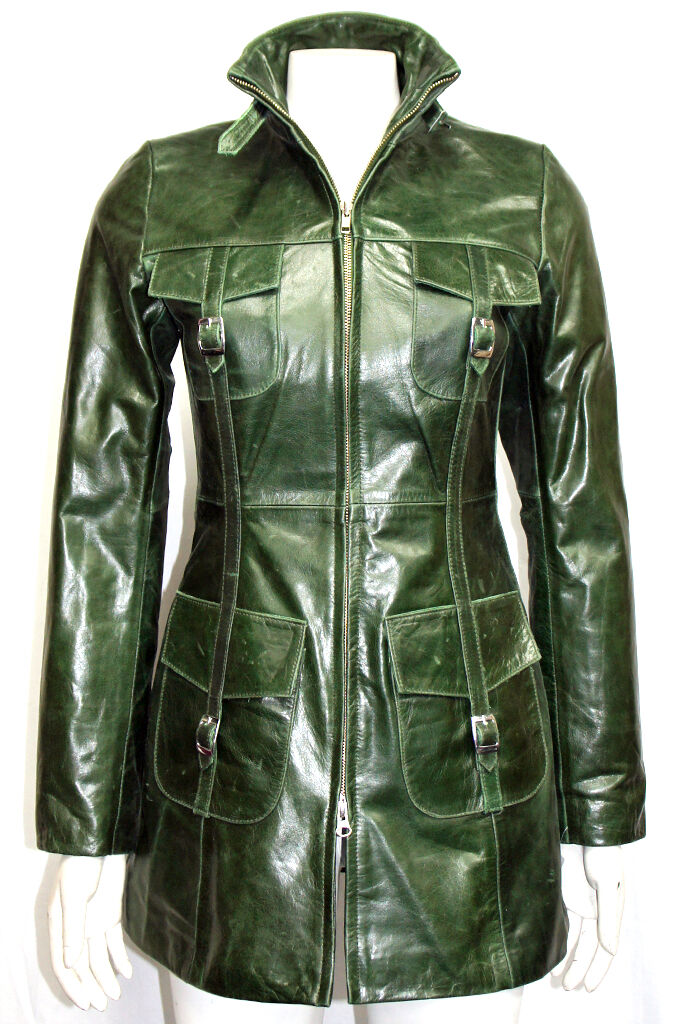 New Green Glaze Classic Speed Biker Style Men/'s Fashion Real Leather Jacket