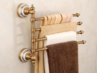 Wall Mount Bathroom Bath Towel Rack Holder Swivel Rail Hanger Shelf Brass Chrome