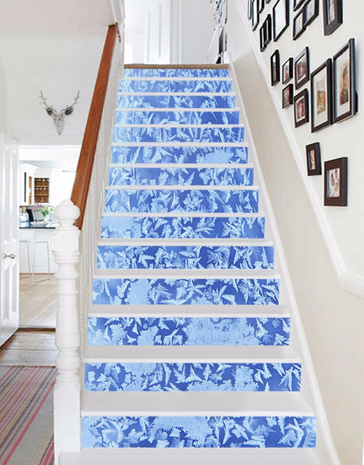3D Ice Snowflakes 8 Stair Risers Decoration Photo Mural Vinyl Decal Wallpaper AU