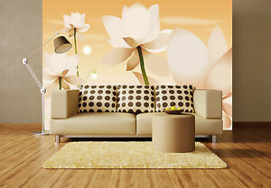 3D White Lotus Wall Paper Murals Wall Print Decal Wall Deco AJ WALLPAPE