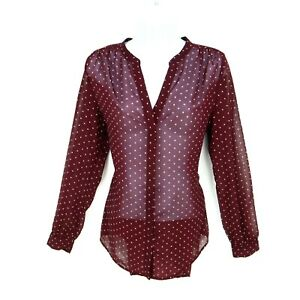 Old Navy Top Button Up Blouse Womens Size SP Maroon Polka Dot Sheer Long Sleeve