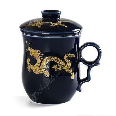 270ml Golden Dragon Ceramic Blue Porcelain Tea Mug Cup with lid Infuser Filter