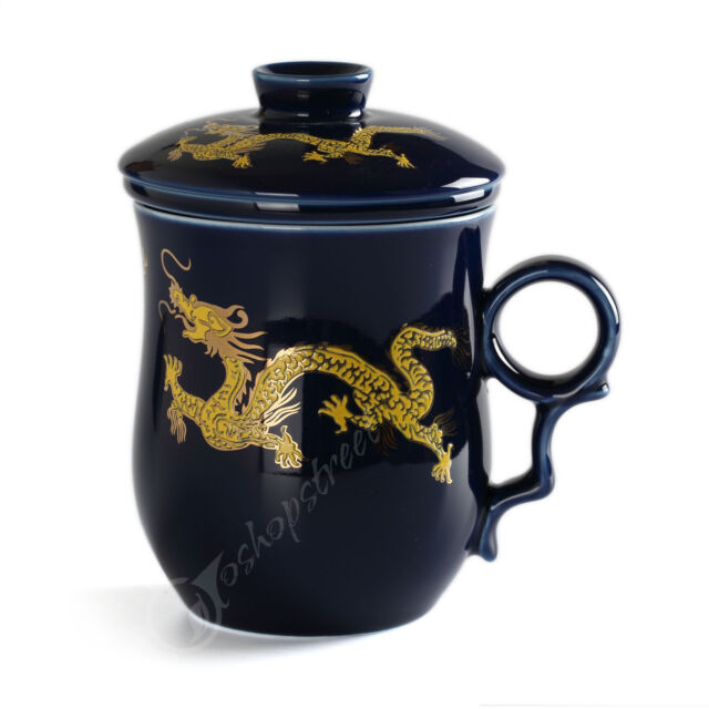 270ml Golden Dragon Ceramic Blue Porcelain Tea Mug Cup with lid Infuser Filter