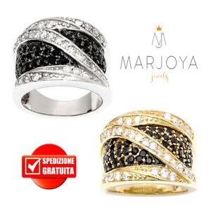 Anello fascia da donna argento 925 personalizzabile con nome in pave/' di zirconi