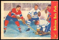 1955 56 PARKHURST HOCKEY 74 JEAN BELIVEAU HARRY LUMLEY EX-NM BATS PUCK CANADIENS