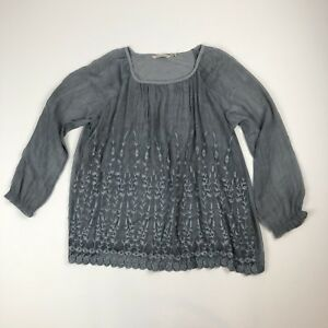 Soft-Surroundings-Gray-Sheer-Floral-Embroidered-Boho-Shirt-Top-Sz-M