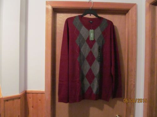 Long Sleeve V-Neck Sweaters size big /& Tall 2XB,XLT Burgundy and Navy Blue NWT