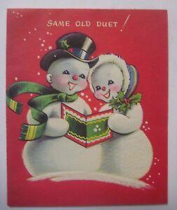 image is loading vintage 1950s christmas card cute caroling snowmen pollyanna - Christmas Pollyanna