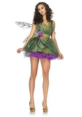 Sexy Woodland Green Fairy Tinkerbell Dress Outfit Adult Halloween Costume NEW