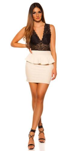 Koucla Damen Kleid Partykleid Minikleid mit Spitze und Schoeßchen