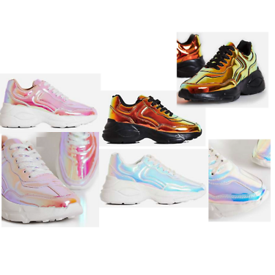 Details about  /Cape Robbin LIMITLESS Silver Hologram Faux Patent Lace Up Athleisure Sneaker