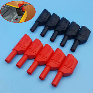 10-Red-Black-Safety-Fully-Insulated-Male-Stackable-Banana-Plug-Connector-4mm