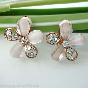 Navachi-Flower-Acetate-18K-GP-Crystal-Rhinestone-No-Hole-Clip-on-Earrings-BH1923