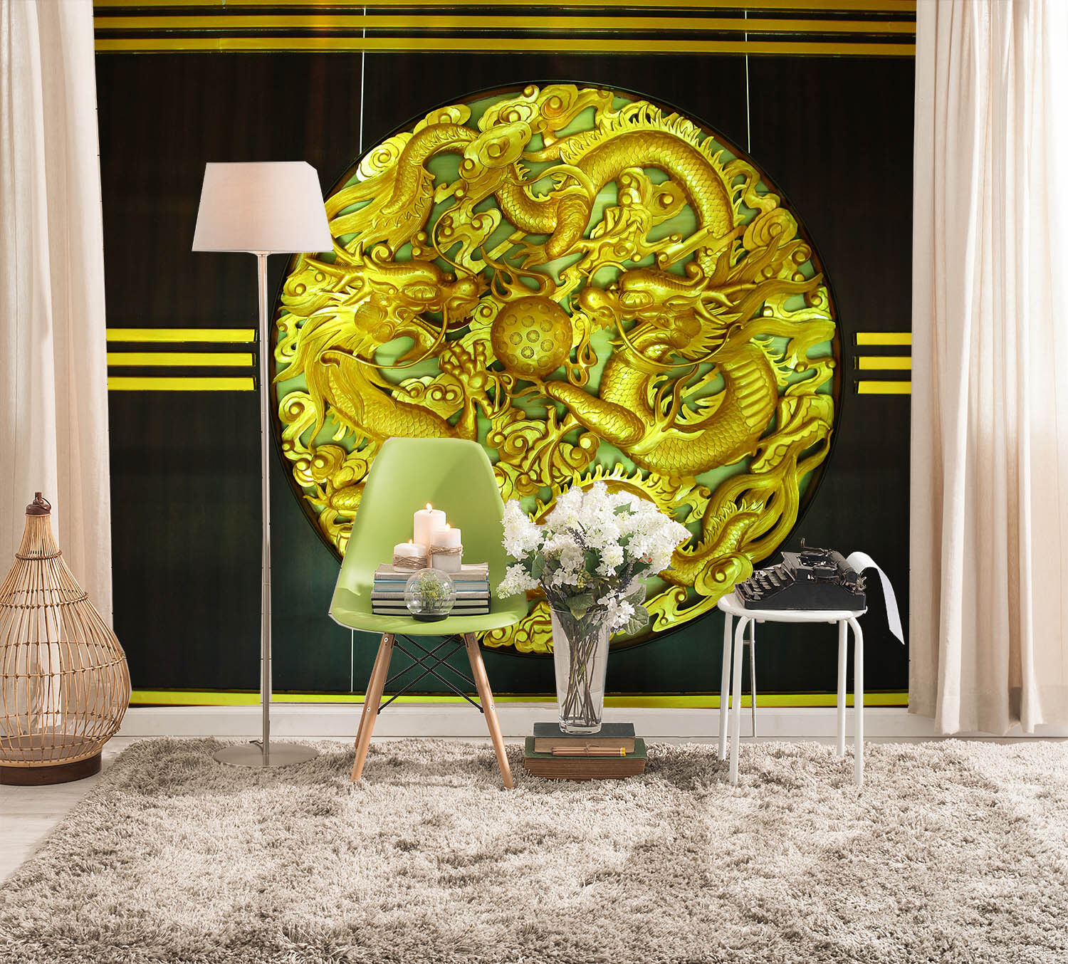 3D Round golden Dragon 452 Wall Paper Wall Print Decal Wall Deco Indoor Mural