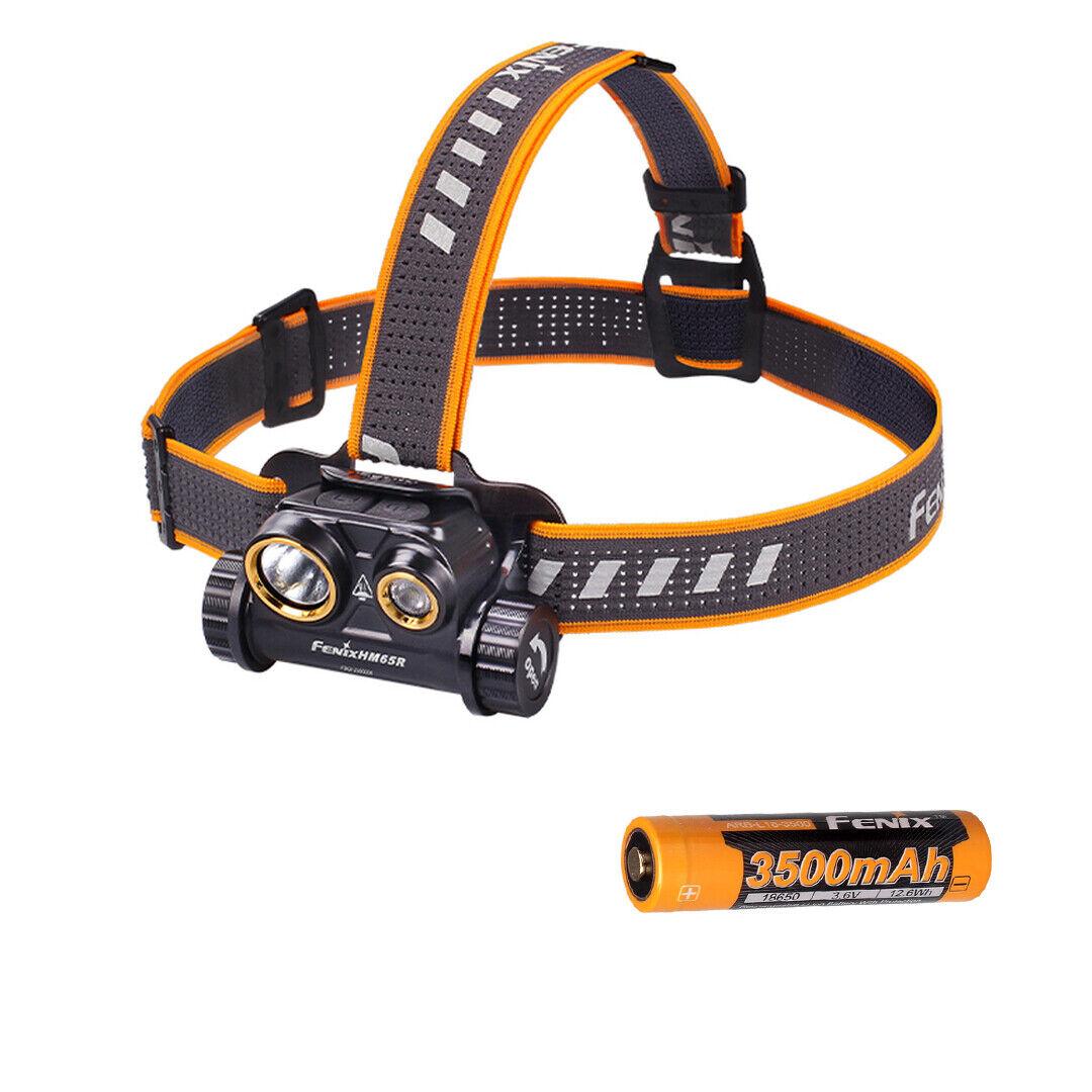 Fenix HM65R 1400 Lumen Spot & Flood USB Rechargeable Headlamp and 18650 Battery