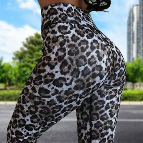 Women Ruched Yoga Compression Pants Snake Skin Print Leggings Booty Gym Trousers