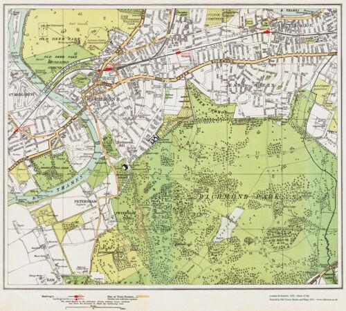 Petersham Map London 1932 #87-88 Richmond East Sheen