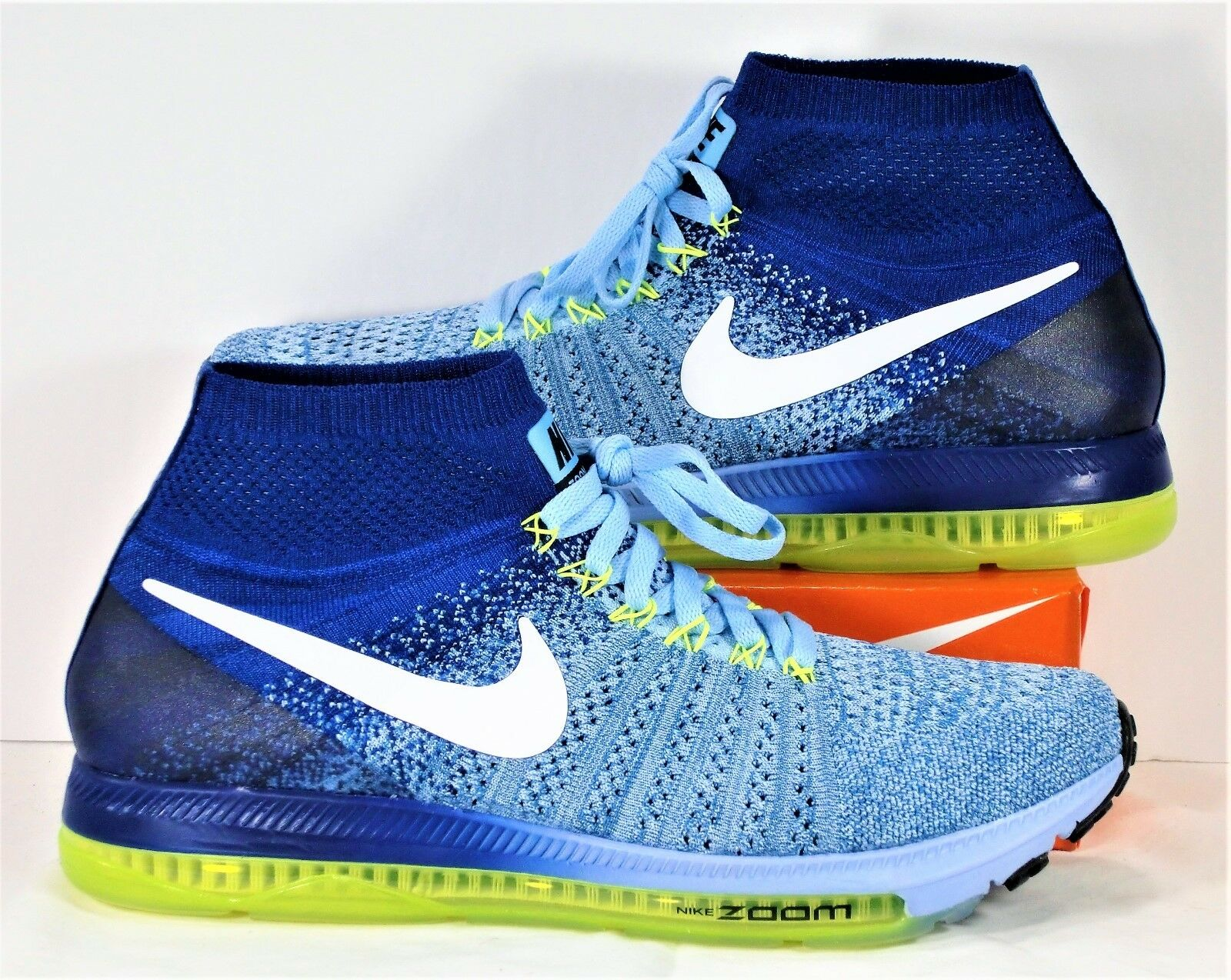 Nike Zoom All Out Flyknit Royal Blue & White & Volt Running Sz 9 NEW 845361 400