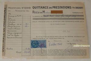 QUITTANCE-de-PRESTATIONS-du-1er-aout-1960-TIMBRE-Fiscal-de-25-francs